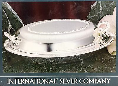 International Silver Co. Silverplate Covered Oval Serving Vegetable Glass Dish