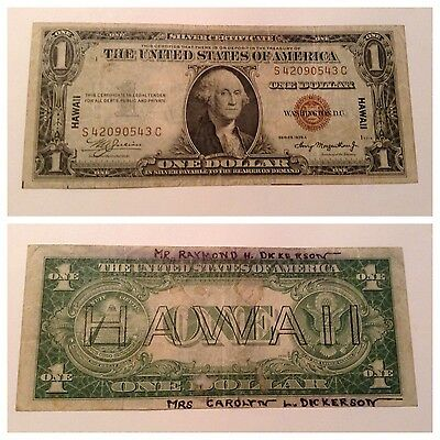 Vintage $1 Hawaii 1935-A Silver Certificate One Dollar Raymond Carolyn Dickerson