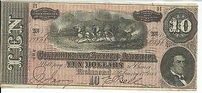 CSA 1864 Confederate Currency T68 $10 Note Horses pull Cannon Caisson #81866 XF