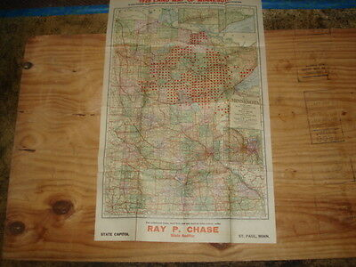antique 1929 state of MN map colorful land sale unique paper collectible