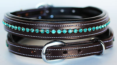 X-Small Bling Stones Turquoise Dog Puppy Collar Crystal 100% Cow Leather 6026