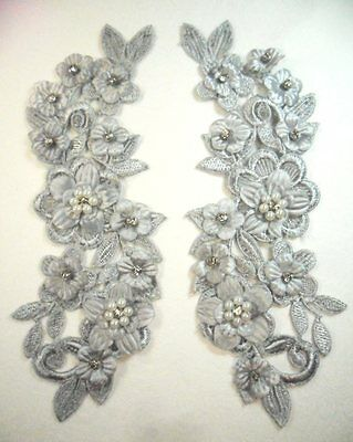 """Venice Lace White Floral Applique with Crystal Rhinestones 8.5/"""" DH95"""