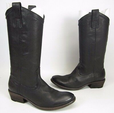 Frye Black Leather Western Cowboy Boots Women's Shoe Size 7.5 B Pull On