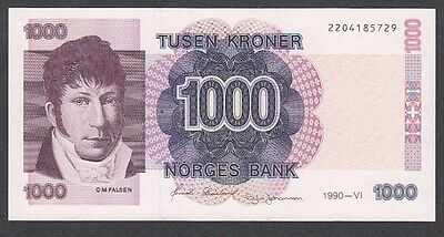 1000 Kroner From Norway 1990 i uNC