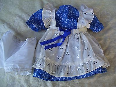 Alte Puppenkleidung BlueWhite Apron Dress Outfit vintage Doll clothes 40 cm Girl
