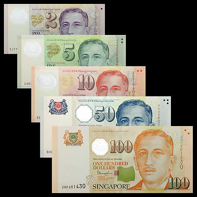 Singapore SET 5 PCS, 2 5 10 50 100 Dollars, P-46 47 48 49 50, UNC
