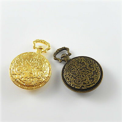 4 Sets Clear Glass Cameo Mixed Base Trays Floral Pocket Watch Crafts Pendants