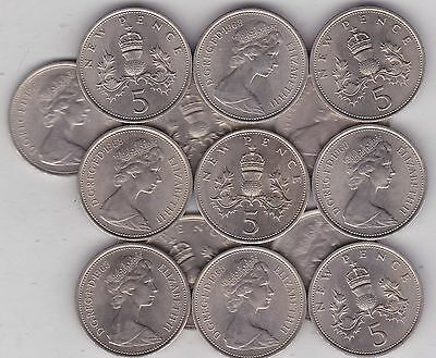 14 x 1968 LARGE NEW FIVE PENCE COINS IN NEAR MINT CONDITION