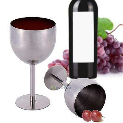 380ML Stainless Steel Wine Glass Cup Goblet Champagne Drinking Cup Wine Glass #S