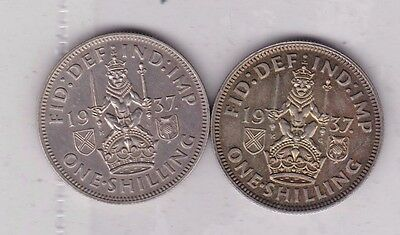 1937 George Vi Proof & Currency Issue Scottish Shillings In Near Mint Condition