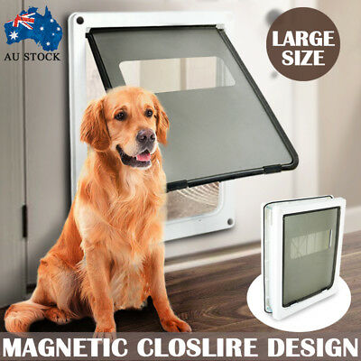 Safe 2-way Lockable Pet Cat Dog Door Large Locking Flap Frame Screen 44*36*5cm
