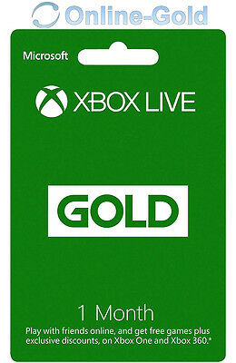 1 Month Xbox LIVE Gold Membership Code Microsoft 360/ONE S Subscription Key - AU