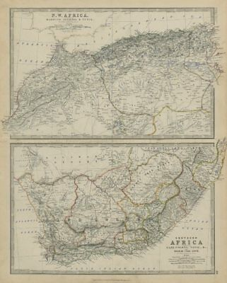 NW Africa Morocco Algeria South Africa Cape Colony 50x60cm JOHNSTON 1879 map