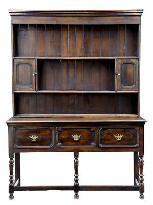 19Th Century English Antique Oak Dresser And Rack