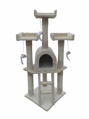 Cat Tree Scratching Post Activity Centre Bed Toys Scratcher Kitten Pet [Beige]