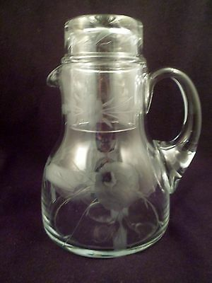 Tumble-Up Bedside Floral Etched Crystal Pitcher with Matching Tumbler