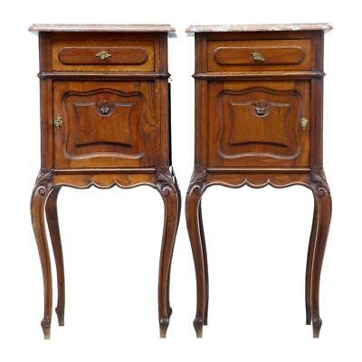 Pair Of 19Th Century French Oak Marble Top Night Stands