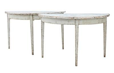 Pair Of 19Th Century Painted Swedish Demi Lune Tables