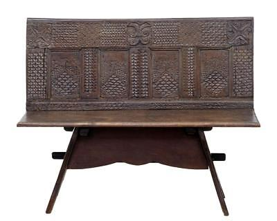 19Th Century Victorian Carved Oak Bench