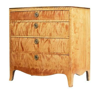19Th Century Danish Small Bowfront Satinwood Commode