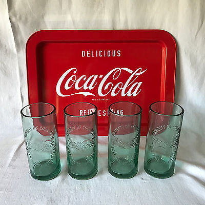 Vintage Coca Cola Tray and 4 Tall Heavy Coke Glasses Tin Tray Advertising