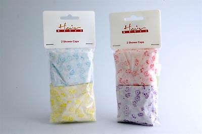 Hairworks Flower Pattern Reusable PVC Shower Caps - Pack of 2 (Colour May Vary)
