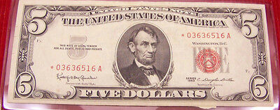 1963  $5 United States Red Seal Note -  STAR * 03636516 A -HIGH GRADE