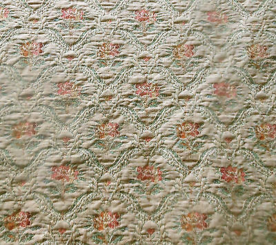 Antique French Roses Floral Cartouche Brocade Fabric  #1 ~ Coral Pink Aqua Cream