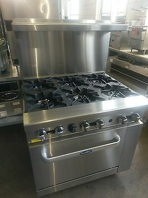 Atosa Ato-6B 6 Burner Range W/ Oven Base Natural Gas Brand New 1 Year Warranty