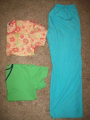 Lot 3 Nurse Scrubs Tops Pants Size Medium Urban Scrubs Barco Uniforms SB Scrubs