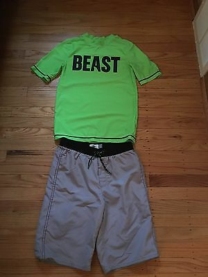 Old Navy Boys Size 10-12 Swimsuit With Rashguard