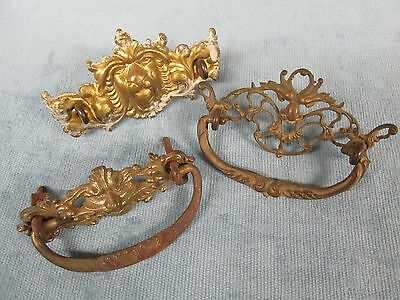 Antique Lot of 3 Gothic Northwind Lion Face Brass Drawer Pulls / Handles Lot 79