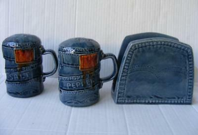 Denim Blue Jeans Salt & Pepper Shakers Napkin Holder Vtg Kitchen Set Handpainted