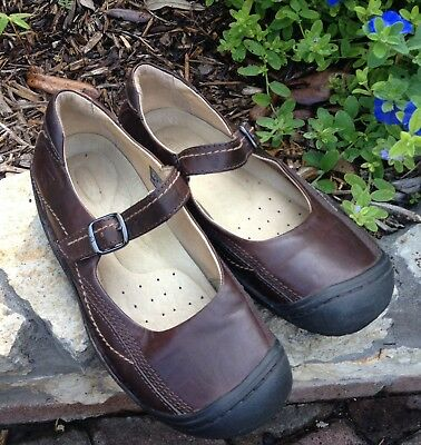 KEEN Women's Brown Leather Mary Janes Slip On Casual Loafer Shoes Size 40.5 M 10