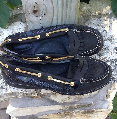 Women's SPERRY TOP-SIDER Black Leather Style 9104548 Loafers Size 7.5 M