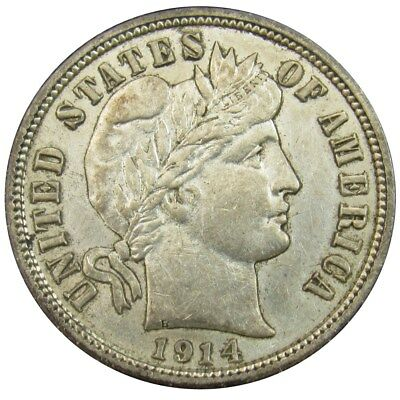 1914-D Barber Dime - AU - 10c Silver Full Liberty About Uncirculated