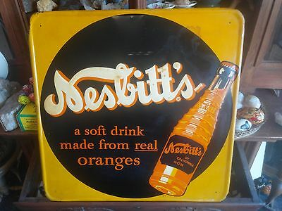 Authentic Early Vintage Nesbitt's Orange Soda Advertising Metal Sign - Large