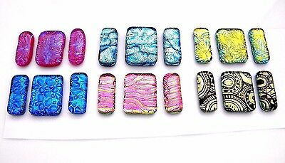6 Matching Pairs Earrings Pendant (G1) Fused Dichroic Glass Cab Handmade