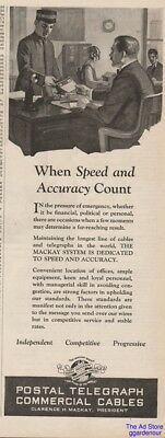 1923 Postal Telegraph Commercial Cables Clarence H. Mackay Telegram Messenger Ad