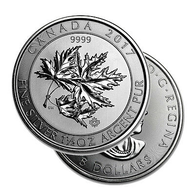2017 $8 Silver Canadian Maple Leaf 1.5 oz .9999 fine Silver RCM SuperLeaf