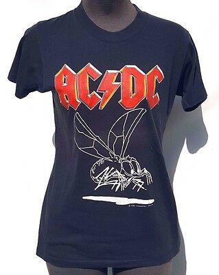 Vintage 1985 ACDC Fly On The Wall CONCERT Tour T SHIRT Women's Medium