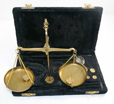 Antique Apothecary Gold Scale With Box Balance & Brass Weights Set