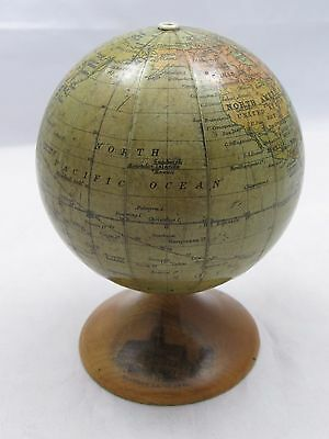 SUPERB ANTIQUE JOHNSTONS ? 3 INCH MINIATURE GLOBE ON MAUCHLINE WARE STAND c1900