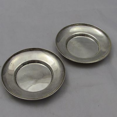 Antique Edwardian Pair Of Solid Silver Drinking Glass Coasters Or Pin Dishes