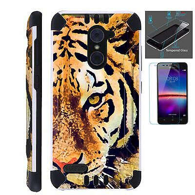 ZTE SLIM CASE + TEMPERED GLASS/ Duo Layer Phone Cover HALF CHEETAH