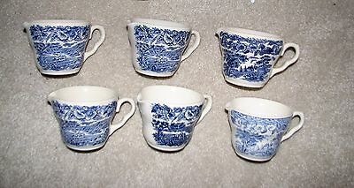 SIX blue transferware vintage SUMMER ON THE HOME FARM CREAMER sheep ENGLISH IRON