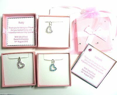 Bridesmaid Flower Girl Choice of Crystal Heart Necklace Personalised Boxed Gift