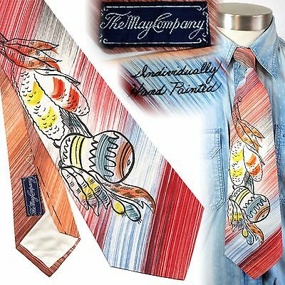 Vintage 1940s hand painted swing tie The May Company necktie