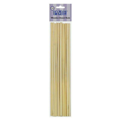PME 12pk Wooden Dowel Rods Supports Tiered Cakes Decorating