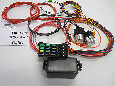 14 circuit 12 fuse universal wiring harness, car,  streetrod, chevy, ford